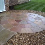"A three ring ""Lakeland"" natural paving circle with handmade bricks to form the outer edge."
