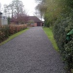 A communal driveway used by three properties using Scottish blue granite chippings.